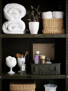 Love the milk glass... Baskets...and army ammo box...unique combination of textures  ...<3