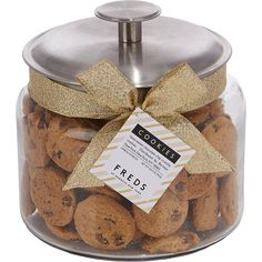 FREDS at Barneys New York Jar of Crunchy Chocolate Chip Cookies-Colorl (£6.78) ❤ liked on Polyvore featuring food, home, kitchen, food & drink, food and drink, fillers and colorless