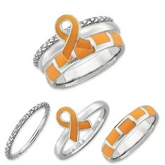 Sterling Silver Stackable Expressions Orange Awareness Ribbon Ring Set