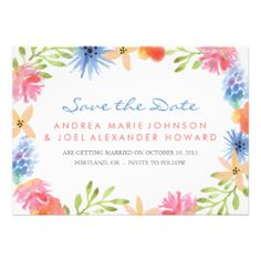 Brightly colored hand illustrated lemon tree branch design by Shelby Allison. #save #the #dates #save #the #date #flat #card #wedding #hawaiian #hawaii #tropical #flowers #flower #naval #marine #trendy #stylish #cute #girly #pink #blue #purple #orange #yellow #bright #brightly #colored #green #gifts #gift #ideas #for #her #girls #for #a #girl #women #womens