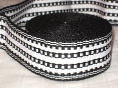 Black and white hand woven inkle trim (over 14 feet)