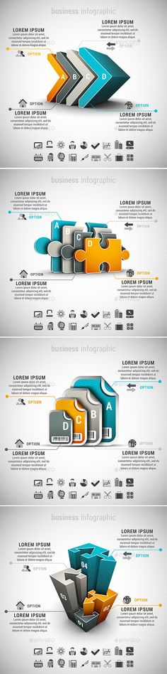 4 in 1 Business Infographics Bundle — Vector EPS #idea #sticker • Available here → https://graphicriver.net/item/4-in-1-business-infographics-bundle-/10486454?ref=pxcr