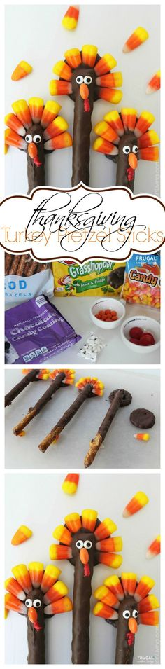 Turkey Pretzels - Thanksgiving Kids Food Craft usingh chocolatge, candy corn and pretzels on Frugal Coupon Living.