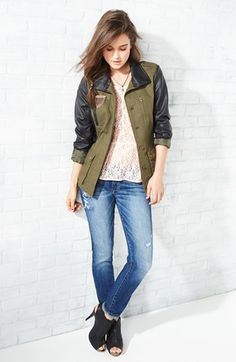 Bernardo Cotton & Faux Leather Anorak Jacket (Regular & Petite) | Nordstrom