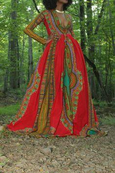 African print dashiki gown/ dashiki dress