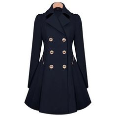 Women's US Ladies Slim Outwear Coat Breasted Long Trench Overcoat... ($40) ❤ liked on Polyvore featuring outerwear, coats, navy, long overcoat, slim trench coat, slim fit overcoat, navy blue coat and slim fit trench coat