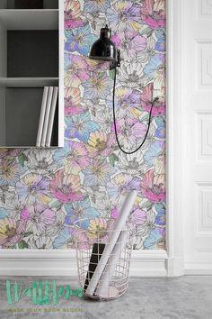 Papel pintado modelo amapola extraíble Wallpaper por WallfloraShop