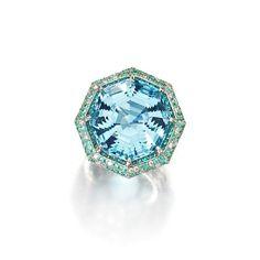 An aquamarine, Paraiba tourmaline and diamond ring.