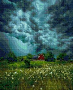 Approaching Storm Farm landscape Cross Stitch pattern PDF - Instant Download! by PenumbraCharts on Etsy