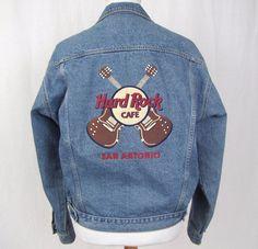 Hard Rock Cafe Jean Jacket Large Denim Trucker San Antonio Guitars Rock Coat