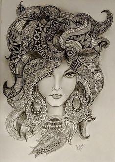 #LipPencilColors Girl Drawing Sketches, Doodle Art Drawing, Zentangle Drawings, Mandala Drawing, Pencil Art Drawings, Zentangles, Doddle Art, Stone Art Painting, Mandala Art Lesson