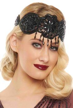 Julia Vintage Inspired Flapper Headband in Black