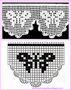 trendy crochet edging and borders double Filet Crochet Charts, Crochet Borders, Knitting Charts, Crochet Motif, Crochet Designs, Crochet Doilies, Knit Crochet, Crochet Patterns, Thread Crochet