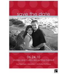 Red polka-dotted save the date card: 	This design features and red polka-dotted background with aqua accents.