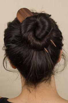 Moon Wooden Hair Pin in Walnut