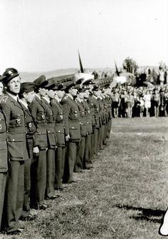 arrival of No. 312 (Czechosolovak) Squadron RAF at Plana airbase near Ceske Budejovice on 22 September 1945 Air Force Aircraft, Supermarine Spitfire, Battle Of Britain, Fighter Pilot, Royal Air Force, Rare Photos, Armed Forces, First World, Ww2