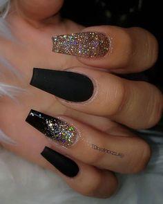 coffin nails - yellow acrylic nails - - - Black with Glitternailsvibez By . nailinspiration nailitdaily nailswag nailaddict qualitynails nailworld theglitternail nailonfleek nailprodigy nailshape getn Source by spicelandjohnsie idea 2019 Black Acrylic Nails, Best Acrylic Nails, Acrylic Nail Art, Black Coffin Nails, Black Nails With Gold, Gold Glitter Nails, Black Acrylics, Acrylic Nails Coffin Glitter, Nails After Acrylics