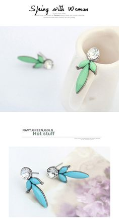 Snowboardi Blue Diamond Decorated Geometrical Shape Design Alloy Stud Earrings ,Stud Earrings  http://earrings.asumall.com/