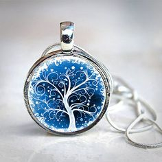 SWIRL Trees - Interchangeable Magnetic Toppers Button Necklace - $10.99