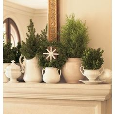 Assorted greenery in white ironstone on mantel I have lots of white stoneware at the shop and i want to do this.