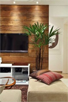 Wooden panels for an extraordinary wall design accent wall living room wood panels plant brown carpet Living Room With Tv, Small Living Room Furniture, Beige Living Rooms, Accent Walls In Living Room, Small Living Rooms, Living Room Interior, Home And Living, Living Room Designs, Deco Design