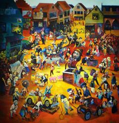 """Les contemporains 195x195cm Carlos Farinha, 2008 Based on the painting of Breughel """"Fight Between Carnival and Lent"""""""