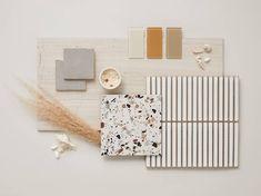 Tiles featured: Riad Grey, Terrazo Bianco Macro, Track Stack White, Legno Limestone, + Glass tile in Burlap, Rosewater, and Khaki. The Tile Shop, Bathroom Tile Designs, Design Consultant, Bathroom Inspiration, Free Design, Tiles, Boards, Mood, Creative