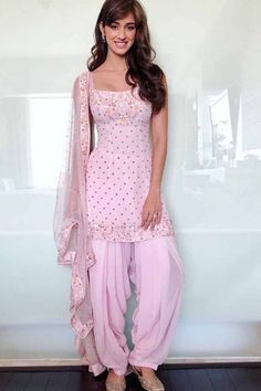 Patiala Suit Eid Store - Buy Blush Pink Georgette Patiala Suit With Stone Work - Salwar Kameez for Women from Andaaz Fashion Eid Collection at Best Prices. Patiala Suit Designs, Kurti Designs Party Wear, Kurta Designs, Dress Designs, Blouse Designs, Patiala Dress, Punjabi Dress, Punjabi Suits, Patiala Salwar Suits