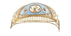 c1800 An Italian gilt bronze tiara with micro mosaic birds and scrolling edges, Rome.
