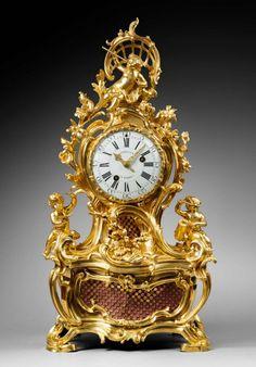 Gosselin à Paris  Case by Jean-Joseph de Saint-Germain  Important Gilt Bronze Rococo Mantel Clock  Allegory of the Arts  Paris, Louis XV period, circa 1750