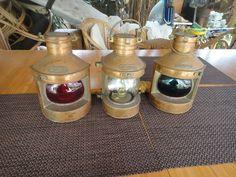 "Lanterns Tung Woo Hong Kong Trio 9"" tall Mast Head, Starboard & Port by MilliesAttique on Etsy"