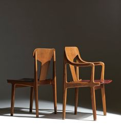 Bjorn Engø; Oak and Leather Armchairs for Gustav Bahus, c1950.