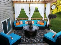 Add privacy while creating a cozy outdoor living space with our weather resistant sheer outdoor curtains. Features velcro tabs for easy removal . Available at gifte-mart.com: