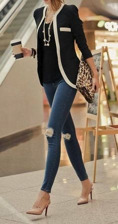 Combine blazers: styling tips for autumn & which blazer suits which figure! - Business Looks // Büro-Mode // Office Outfits - Cardigans Fall Fashion Outfits, Mode Outfits, Look Fashion, Autumn Fashion, Casual Outfits, Fashion Ideas, Street Fashion, Blazer Outfits, Spring Fashion