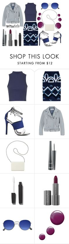 """""""Spring Date - Burberry Geometric Print Pencil Skirt"""" by latoyacl ❤ liked on Polyvore featuring Topshop, Burberry, Acne Studios, Nine West, MAC Cosmetics and Chanel"""