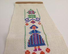 Vintage Swedish Embroidery Wall Art  Ship