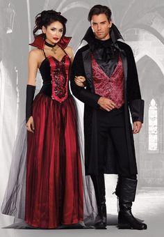 "Bloody Handsome 2-Piece Costume - Includes red printed vest with attached black ruffle neck piece, and long velvet coat with vampire collar. Great Halloween couples costume when paired with ""Bloody Be"