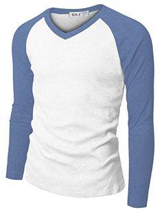 5c59befbaf6fab Amazon.com  Doublju Mens Raglan Baseball V-Neck 3 4 Sleeve T-shirt  Clothing