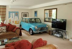 Just a 1963 Morris Mini Cooper sitting in the living room Mini Cooper Classic, Classic Mini, Classic Cars, Minis, Mini Morris, Mini Copper, Mini Countryman, Selling Your House, Small Cars