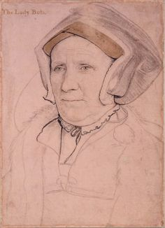 A portrait drawing by Holbein of Margaret, Lady Butts (c.1485-1545), wife of Sir William Butts, and daughter of John Bacon. She served as a lady-in-waiting to the Princess Mary, and belonged to the circle of Queen Katherine Parr. Her completed Holbein portrait hangs near that of her former mistress, Mary I, at the Isabella Stuart Gardner Museum, in Boston, MA, USA. (Her husband's portrait hangs there, as well).