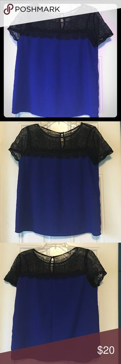 Beautiful Blue Lace Top This beautiful top is perfect for any kind of day! It has lace on the top and the bottom part is 100% polyester! It comes in a size medium and has only been worn once or twice. Let me know if you are interested! Forever 21 Tops Blouses