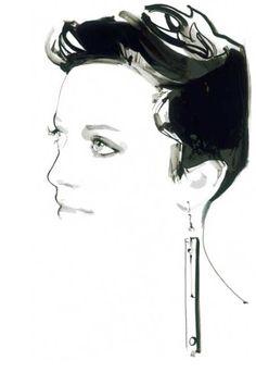 David Downton's sketch of jewellery designer Sarah Angold