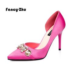 Find More Women's Pumps Information about New women pointy crystal rhinestone satin two pieces high heels design women party wedding pumps dress shoes sapatos feminino,High Quality shoes wear orange dress,China shoes hells Suppliers, Cheap dress shoes toddler boys from Fancy-Zhu on Aliexpress.com