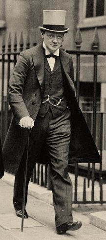 Churchill as a young politician in a top hat in 1912.