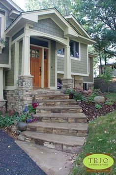 59 Super Ideas for house entrance exterior stairs curb appeal Front Steps Stone, Front Porch Steps, Front Stairs, Entry Stairs, Exterior Stairs, Front Entry, Stone Front House, Porch Stairs, Split Entry
