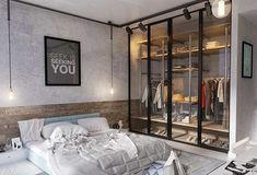 Industrial Style Bedroom Design: The Essential Guide - Schlafzimmer 2019 - Indusrtial Design Closet Bedroom, Home Decor Bedroom, Bedroom Furniture, Bedroom Ideas, Master Bedroom, Art Furniture, Bedroom Doors, Furniture Design, Industrial Bedroom Design