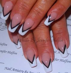 Black and white tip nails