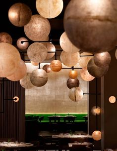The Look: The design firm Yabu Pushelberg teamed up with hotelier Ian Schrager to reinvent this clubby 1938 icon, located within Schrager's new PUBLIC hotel.  Milan-based Dimore Studio created the centerpiece floor-to-ceiling light installation, consisting of 500 glowing cast-resin orbs.   Contact: 312-787-3700; pumproom.com