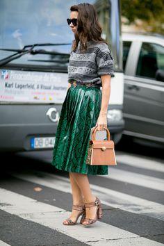 #NatashaGoldenberg snakeskin midi skirt. Paris
