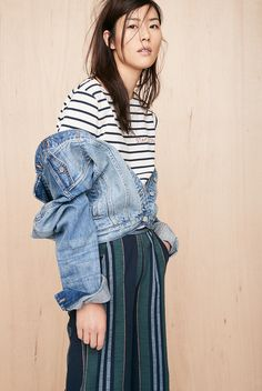 madewell embroidered setlist staycation tee worn with the jean jacket + ace&jig™ striped derby pants.